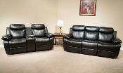 Black Double Reclining Loveseat with Console