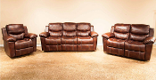 Cognac Double Reclining Loveseat with Console