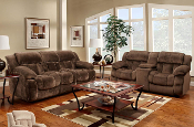 Chocolate Double Reclining Sofa and Loveseat