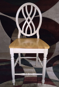 24 Inch White and Pine Pub Chair