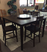 Espresso Pub Table with 4 Pub Chairs and Lazy Susan