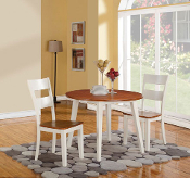 42 Inch Round Drop Leaf Dining Table With Two Chairs