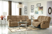 Roan Mocha Reclining Sofa and Loveseat