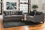 Brindon-Charcoal Sofa and Loveseat